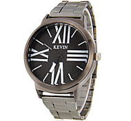 Men's Big Roman Numerals Black Steel Band Quartz Analog Wrist Watch (Assorted Colors)