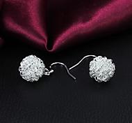 presente para prata queda fashion namorada bola-flor banhado brincos (1 par)