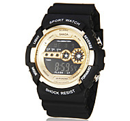 Men's Sport Style Gold Dial Black Rubber Band Wrist Watch