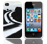 Long Way to Go Design Hard Case with 3-Pack Screen Protectors for iPhone 4/4S