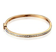Brand New 18K White/Roe Gold Plated Bangle Clear hining Autria Crytal Bracelet