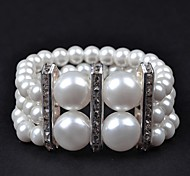 1PC Three Rows Metal Bar Stoneset Pearl Bracelet