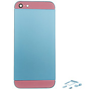 Blue Metal Alloy Back Battery Housing with Button and Pink Glass For iPhone 5