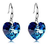 Gift For Girlfriend Sweet (Blue Crystal Heart Drop) Silver Plated Drop Earrings (1 Pair)