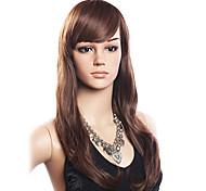 Alta Qualidade de 20% do cabelo humano e 80% de fibra resistente ao calor do cabelo ondulado Peruca Capless Long (Dark Brown)