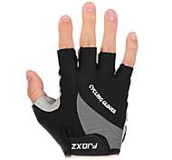 FJQXZ Unisex Cycling Gloves Fingerless Shockproof Cushioning Short Finger Black Cycling Gloves