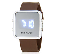 Men's Blue LED Digital White Square Case Silicone Band Faceless Watch (Assorted Colors)