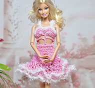 Barbie-Puppe Pink & White Woll Midriff Knited Kleid