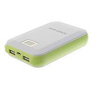 12000mAh High Capacity Dual-Ports Polymeride LCD Power Bank for Cell Phones and Pads (White)