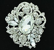 6.4cm Alloy and Rhinetone Leave Brooch Pin (More Color)