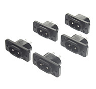 AC 250V 10A Power Jack Sockets (5-Pack, Preto)