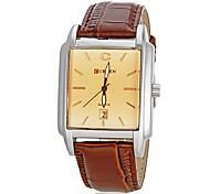 Homens Calendário retângulo Dial Pu couro banda relógio de pulso de quartzo analógico (cores sortidas)