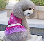 Dog Dress Blue / Pink / Purple Dog Clothes Summer Floral / Botanical