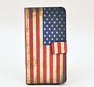 Retro US Flag Pattern PU Leather Case with Magnetic Snap and Card Slot for HTC One M7