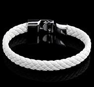 Tejida clásica 22cm Unisex de cuero blanco pulsera de cuero (1 PC)