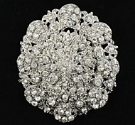 6.8cm Alloy and Clear Rhinetone Oval Brooch Pin