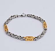 Vintage 22cm Unisex Multicolour Gold Stainless Steel The Great  Wall Pattern Chain and  Link Bracelet