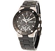 Sportive ronde hommes cadran d'acier de tungstène de quartz de bande analogique montre-bracelet