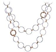 Lureme®Double Layers Circle Connection Long Necklace\ \