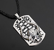 Necklace Pendant Necklaces Jewelry Halloween Party Skull Leather Silver Plated Men Gift Black