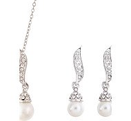 Sweet Sphere Silver-Plated With Imitation Pearl (Earrings & Necklaces) Pearl Jewelry Sets