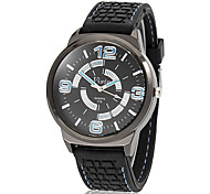 Men's Sporty Round Dial Silicone Band Quartz Analog Wrist Watch (Assorted Colors)