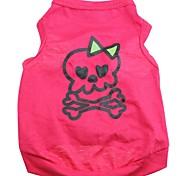 Perros / Gatos Camiseta Rosa Verano Cráneos / Corazones