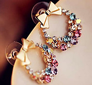 Europea Bowknot multicolor de la aleación con el Rhinestone Stud Earrings (1 par)