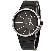 Men's Simple Round Dial Alloy Band Quartz Analog Wrist Watch