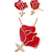 Fashion Silver-Plated Silver With Cubic Zirconia Red Flower Women's Jewelry Set(Including Necklace,Earrings)(Gold,Silver)
