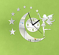 "16""H Modern Style Angle Moon Star Mirror Wall Clock"