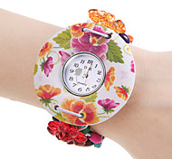 Women's Flower Pattern White Wood Case Elastic Colorful Band Quartz Bracelet Watch
