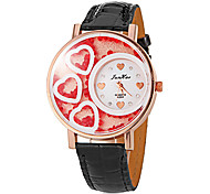 Women's Heart Leather Band Quartz Analog Wrist Watch (Assorted Colors)