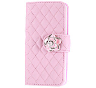 Soft Grid with Rose Button PU Leather Case with Card Slot and Stand for iPhone 5C (Assorted Colors)