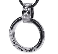 Fashion (Ring) Black Leather Pendant Necklace(White-Black) (1 Pcs)