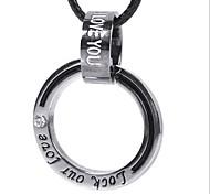Fashion (Ring) Collana in pelle nera del pendente (bianco-nero) (1 pc)