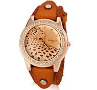 Men's Diamante Leopard Pattern Round Dial PU Band Quartz Analog Wrist Watch (Assorted Color)