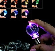 Cute Mini Emulational Bulb Shaped Novelty LED Light 7-color Flashing Keychain(Battery Included)