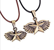 Z&X®  Vintage Couple's (Star With Wings Pendant) Silver Alloy Pendant Necklace (2 Pcs)