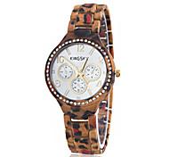 Women's Leopard Print Diamond Case Rubber Band Quartz Wrist Watch (Assorted Colors)