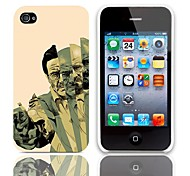 Man with Gun Pattern Hard Case with 3-Pack Screen Protectors for iPhone 4/4S