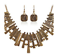 Lureme®Alloy Geomatric Bar Earrings Necklace Jewelry Set
