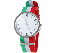 Unisex Casual Style National Flag Fabric Band Quartz Wrist Watch (Assorted Colors)