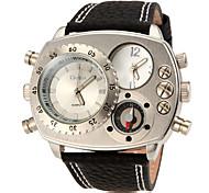 Men's Asymmetrical Dial Design Rectangle Dial PU Band Quartz Analog Fashion Watch (Assorted Color)