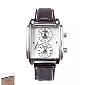 Personalized Father's Day Gift Men's Rectangle Brown PU Band Analog Engraved Watch with Rhinestone