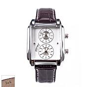 cadeau du jour rectangle brun PU bande de analogique hommes de père personnalisé montre avec strass gravé