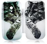 Cuero del patrón del gato de la caja de cuerpo completo para Samsung Galaxy S3 I8190 Mini