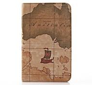 Map-Muster PU-Leder und Hard Back Cover Tasche für Samsung Tab 3 Lite T110 (verschiedene Farben)