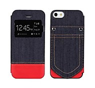 Denim Fabric Pattern Leather Full Body Case with Card Slot for iphone5/5S
