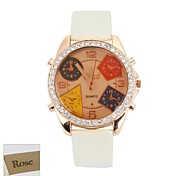 Personalized Gift  Women's Brown Dial  White PU Band Analog Engraved Watch with Rhinestone